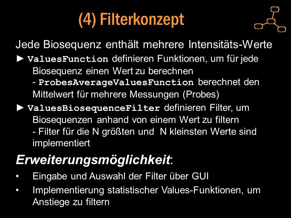(4) Filterkonzept Erweiterungsmöglichkeit: Eingabe und Auswahl der Filter über GUI Implementierung statistischer Values-Funktionen, um Anstiege zu filtern Jede Biosequenz enthält mehrere Intensitäts-Werte ValuesFunction definieren Funktionen, um für jede Biosequenz einen Wert zu berechnen - ProbesAverageValuesFunction berechnet den Mittelwert für mehrere Messungen (Probes) ValuesBiosequenceFilter definieren Filter, um Biosequenzen anhand von einem Wert zu filtern - Filter für die N größten und N kleinsten Werte sind implementiert
