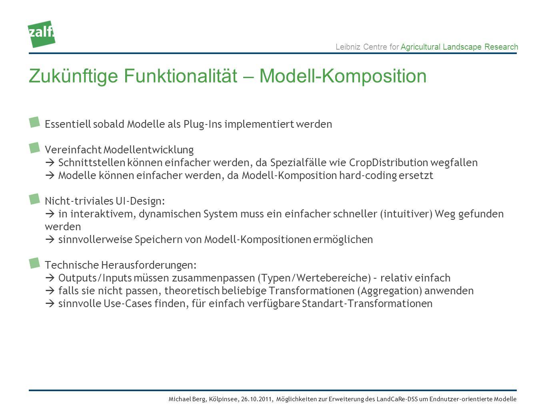 Leibniz Centre for Agricultural Landscape Research Michael Berg, Kölpinsee, 26.10.2011, Möglichkeiten zur Erweiterung des LandCaRe-DSS um Endnutzer-orientierte Modelle Essentiell sobald Modelle als Plug-Ins implementiert werden Vereinfacht Modellentwicklung Schnittstellen können einfacher werden, da Spezialfälle wie CropDistribution wegfallen Modelle können einfacher werden, da Modell-Komposition hard-coding ersetzt Nicht-triviales UI-Design: in interaktivem, dynamischen System muss ein einfacher schneller (intuitiver) Weg gefunden werden sinnvollerweise Speichern von Modell-Kompositionen ermöglichen Technische Herausforderungen: Outputs/Inputs müssen zusammenpassen (Typen/Wertebereiche) – relativ einfach falls sie nicht passen, theoretisch beliebige Transformationen (Aggregation) anwenden sinnvolle Use-Cases finden, für einfach verfügbare Standart-Transformationen Zukünftige Funktionalität – Modell-Komposition
