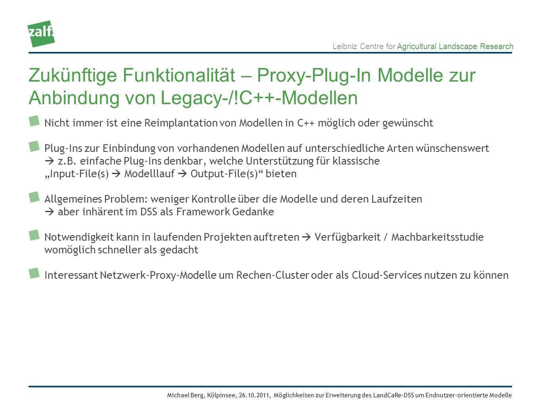Leibniz Centre for Agricultural Landscape Research Michael Berg, Kölpinsee, 26.10.2011, Möglichkeiten zur Erweiterung des LandCaRe-DSS um Endnutzer-orientierte Modelle Nicht immer ist eine Reimplantation von Modellen in C++ möglich oder gewünscht Plug-Ins zur Einbindung von vorhandenen Modellen auf unterschiedliche Arten wünschenswert z.B.
