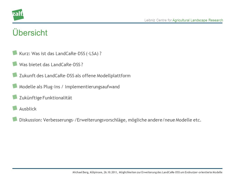 Leibniz Centre for Agricultural Landscape Research Michael Berg, Kölpinsee, 26.10.2011, Möglichkeiten zur Erweiterung des LandCaRe-DSS um Endnutzer-orientierte Modelle Ausschnitt Datenbankzugriff bat.cpp (2)