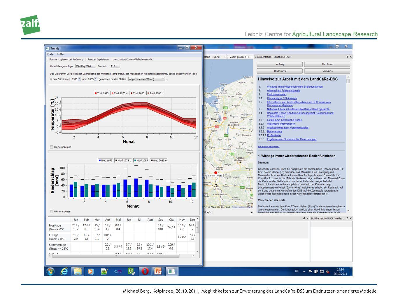 Leibniz Centre for Agricultural Landscape Research Michael Berg, Kölpinsee, 26.10.2011, Möglichkeiten zur Erweiterung des LandCaRe-DSS um Endnutzer-orientierte Modelle Abstrakte Schnittstelle zu verschiedenen Klimadaten (aktuell CLM 20, WETTREG 2006/2010, WEREX, REMO, STAR, STAR2) mit unterschiedlichen Szenarien (A1B, A2, B1) und deren Realisierungen (unabhängige Modellläufe, z.B.