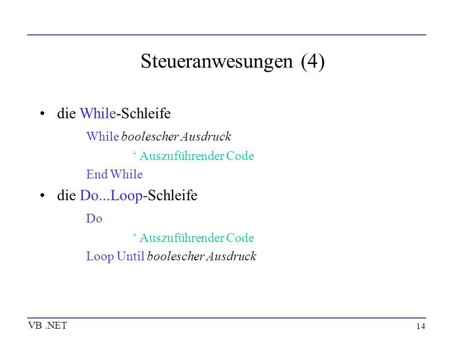 14 Steueranwesungen (4) die While-Schleife While boolescher Ausdruck Auszuführender Code End While die Do...Loop-Schleife Do Auszuführender Code Loop