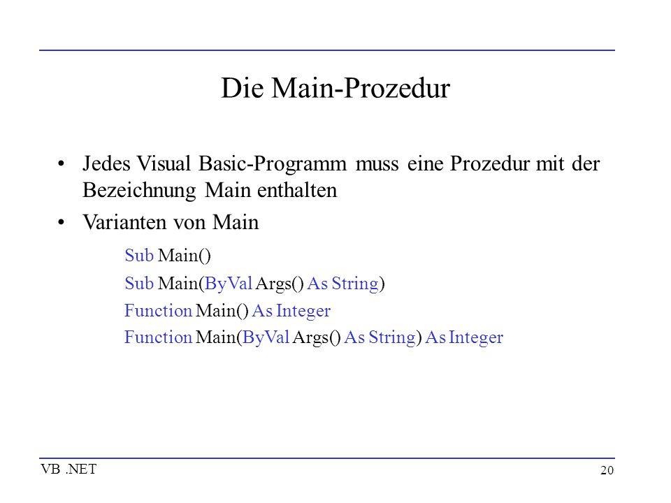 20 Die Main-Prozedur Jedes Visual Basic-Programm muss eine Prozedur mit der Bezeichnung Main enthalten Varianten von Main Sub Main() Sub Main(ByVal Ar