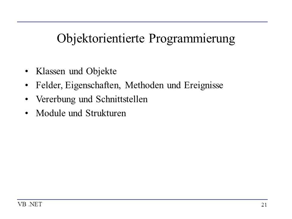 21 Objektorientierte Programmierung Klassen und Objekte Felder, Eigenschaften, Methoden und Ereignisse Vererbung und Schnittstellen Module und Struktu