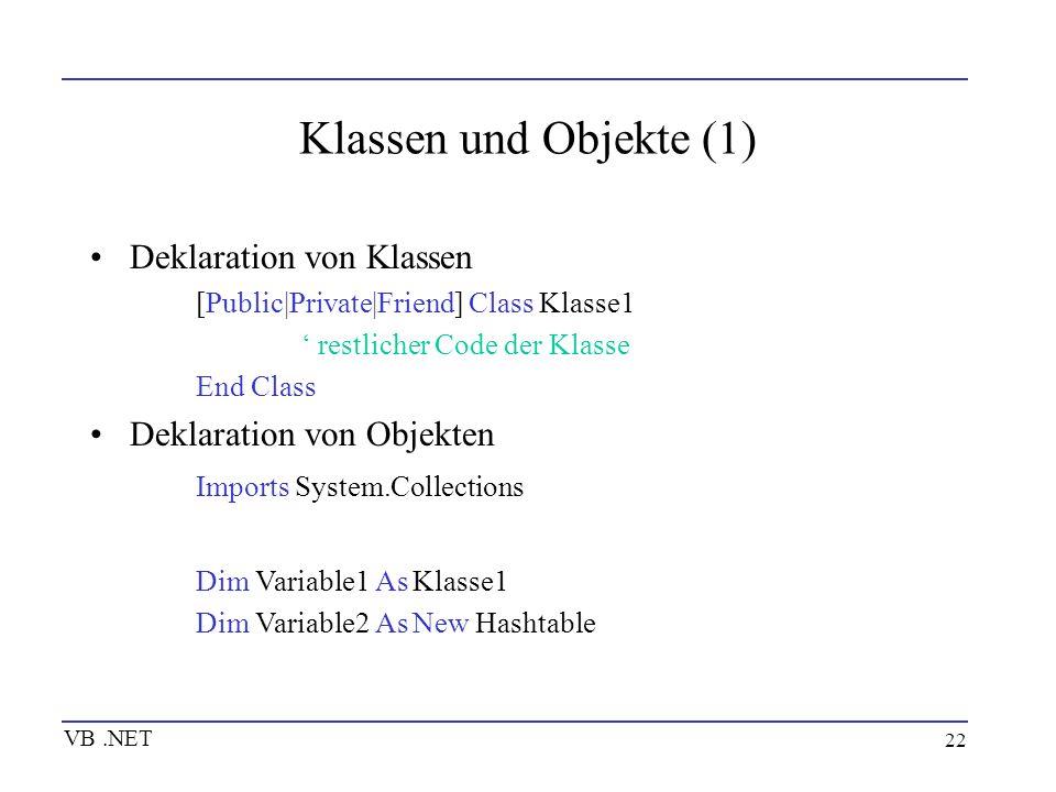 22 Klassen und Objekte (1) Deklaration von Klassen [Public|Private|Friend] Class Klasse1 restlicher Code der Klasse End Class Deklaration von Objekten