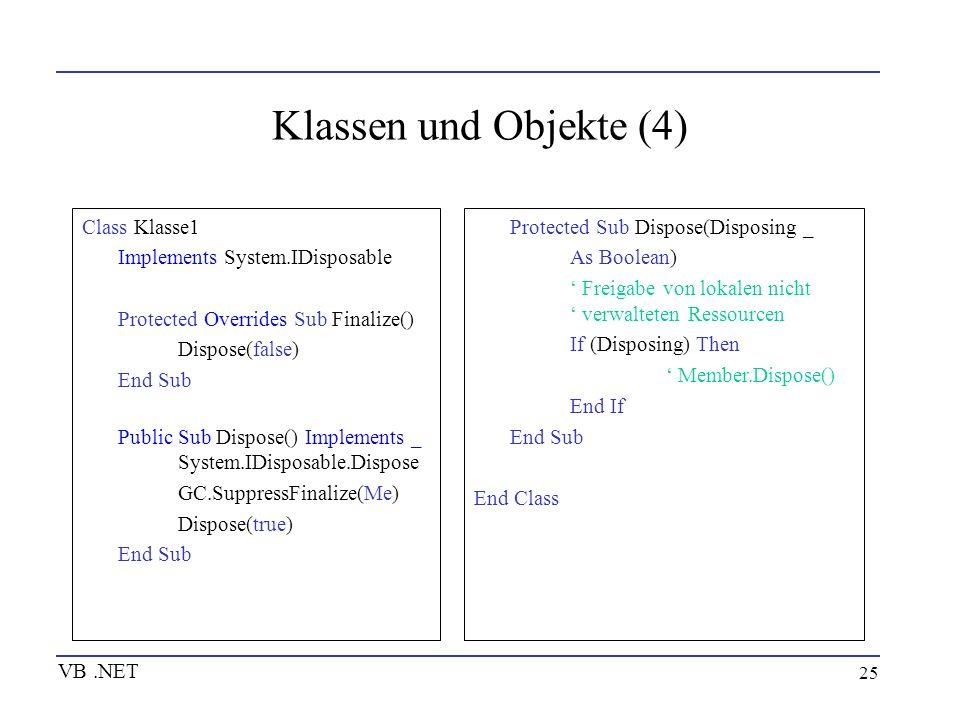 25 Klassen und Objekte (4) Class Klasse1 Implements System.IDisposable Protected Overrides Sub Finalize() Dispose(false) End Sub Public Sub Dispose()