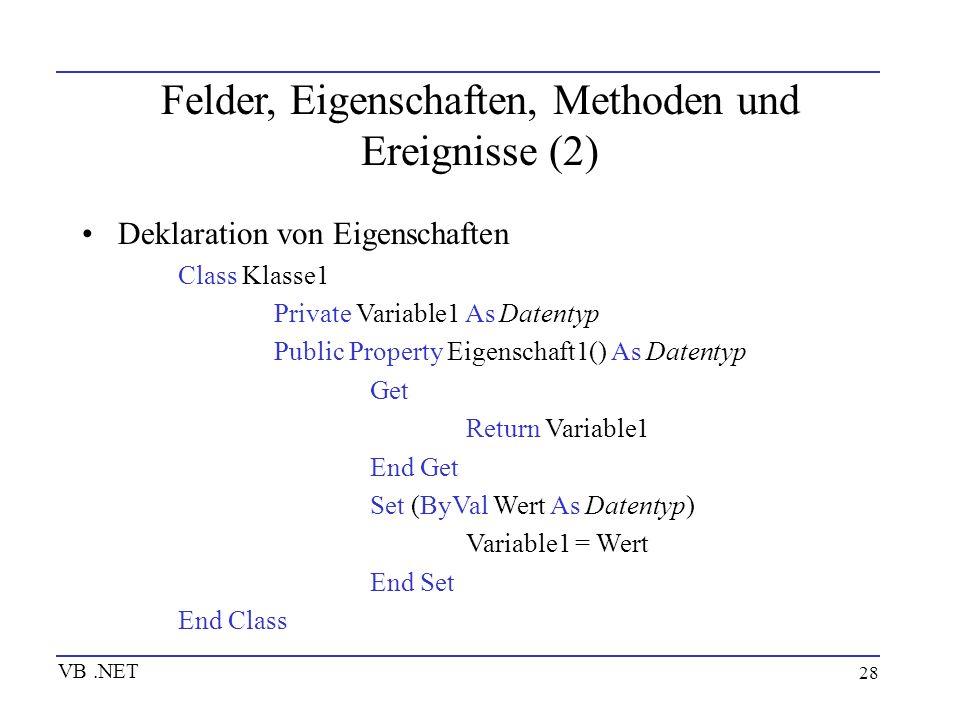 28 Felder, Eigenschaften, Methoden und Ereignisse (2) Deklaration von Eigenschaften Class Klasse1 Private Variable1 As Datentyp Public Property Eigens