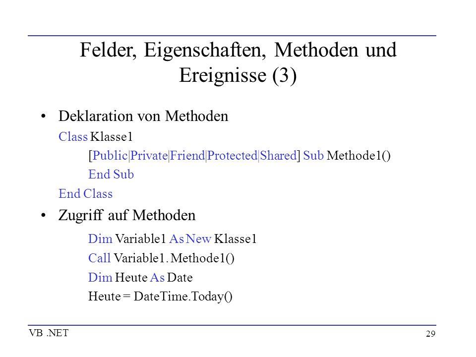 29 Felder, Eigenschaften, Methoden und Ereignisse (3) Deklaration von Methoden Class Klasse1 [Public|Private|Friend|Protected|Shared] Sub Methode1() E