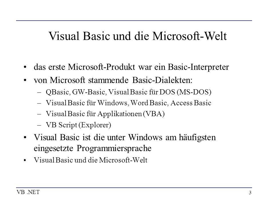4 Prozedurale Programmierung Variablen, Konstante und Felder Operatoren Steueranweisungen Prozeduren VB.NET
