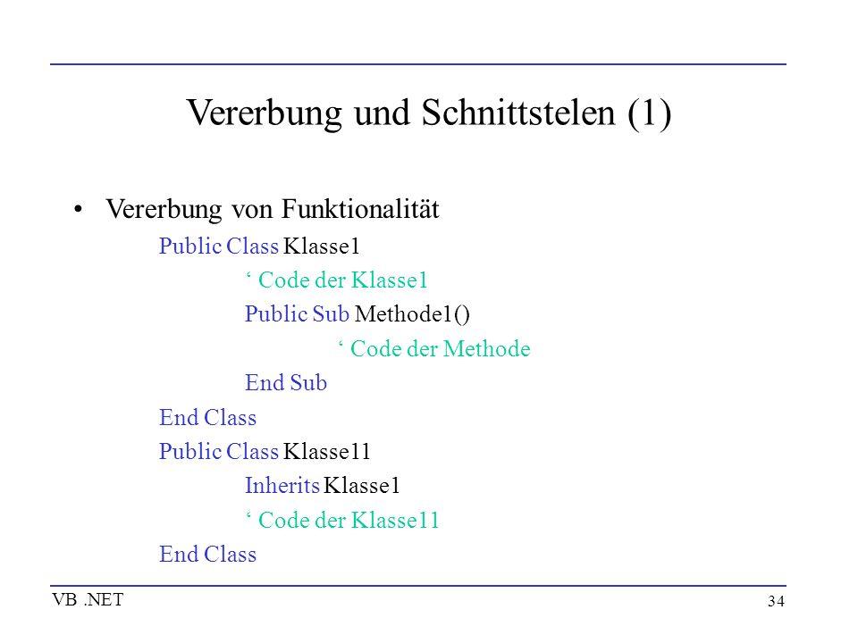34 Vererbung und Schnittstelen (1) Vererbung von Funktionalität Public Class Klasse1 Code der Klasse1 Public Sub Methode1() Code der Methode End Sub E