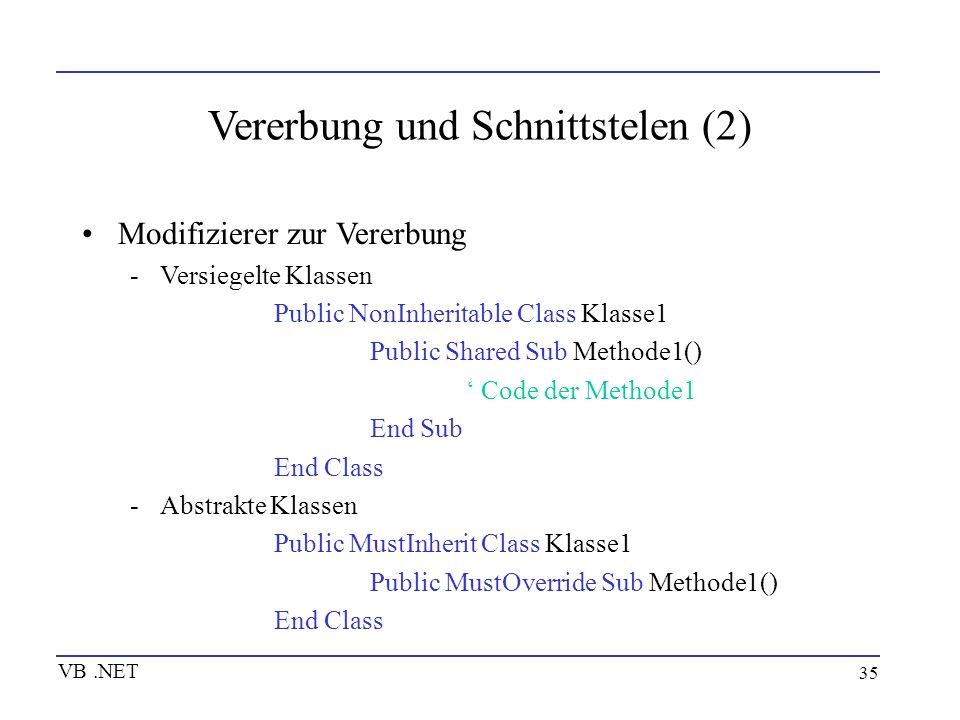 35 Vererbung und Schnittstelen (2) Modifizierer zur Vererbung -Versiegelte Klassen Public NonInheritable Class Klasse1 Public Shared Sub Methode1() Co