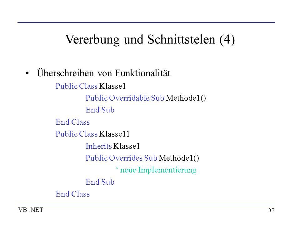 37 Vererbung und Schnittstelen (4) Überschreiben von Funktionalität Public Class Klasse1 Public Overridable Sub Methode1() End Sub End Class Public Cl