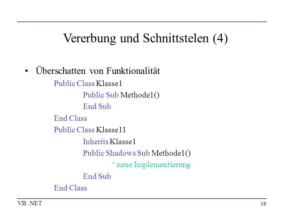 38 Vererbung und Schnittstelen (4) Überschatten von Funktionalität Public Class Klasse1 Public Sub Methode1() End Sub End Class Public Class Klasse11