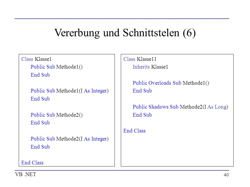 40 Vererbung und Schnittstelen (6) VB.NET Class Klasse1 Public Sub Methode1() End Sub Public Sub Methode1(I As Integer) End Sub Public Sub Methode2()