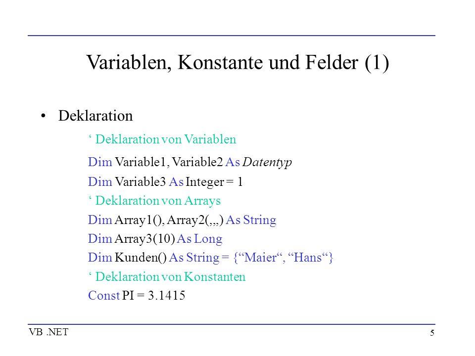 16 Prozeduren Visual Basic-Code wird immer in Prozeduren geschrieben Prozedurtypen in Visual Basic: -Sub-Prozeduren -Function-Prozeduren -Property-Prozeduren -Ereignisbehandlungsprozeduren VB.NET
