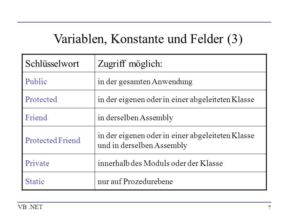 8 Variablen, Konstante und Felder (4) VB.NET Wertzuweisung Über Zuweisungen erhalten variablen einen Wert Dim Variable1 As Double Variable1 = 1.23456789 Dim Kunden(2) As String Kunden(0) = Maier Kunden(1) = Hans Dim Variable2 As Klasse1 Variable2 = New Klasse1()