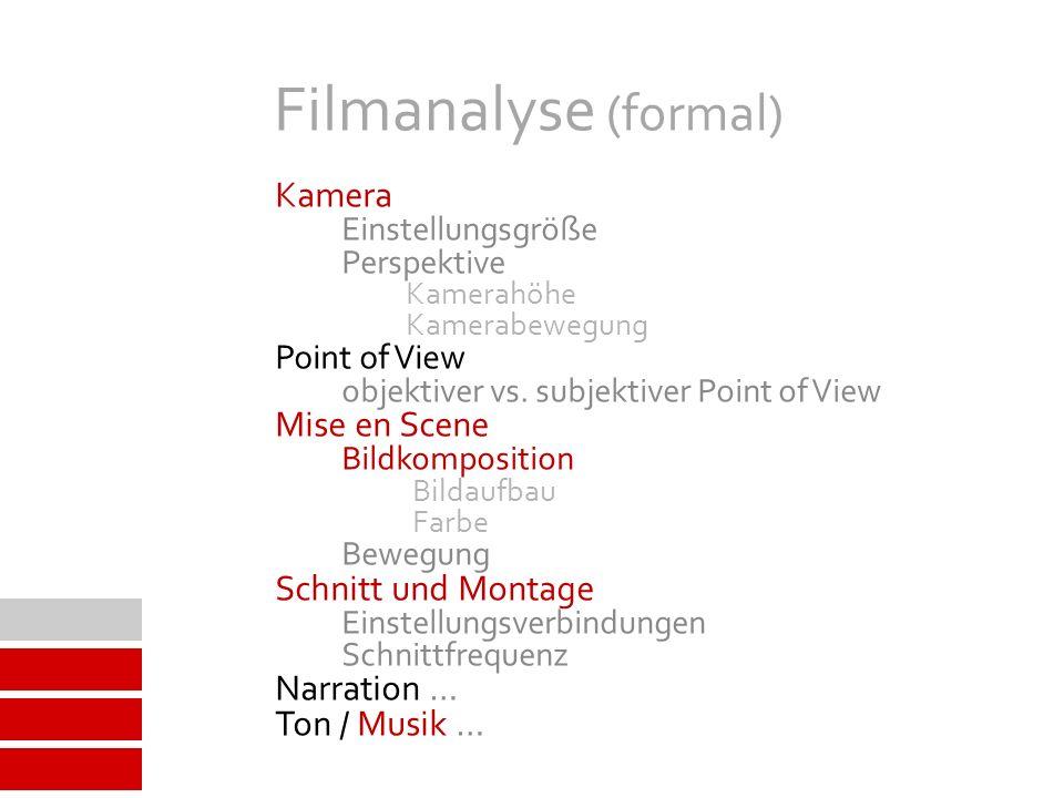 Filmanalyse (formal) Kamera Einstellungsgröße Perspektive Kamerahöhe Kamerabewegung Point of View objektiver vs.