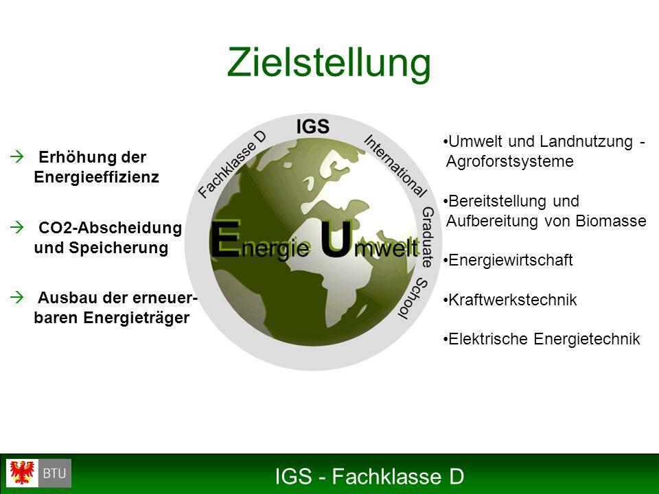 IGS - Fachklasse D Zielstellung Erhöhung der Energieeffizienz CO2-Abscheidung und Speicherung Ausbau der erneuer- baren Energieträger Umwelt und Landn