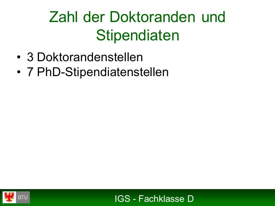 IGS - Fachklasse D 3 Doktorandenstellen 7 PhD-Stipendiatenstellen Zahl der Doktoranden und Stipendiaten