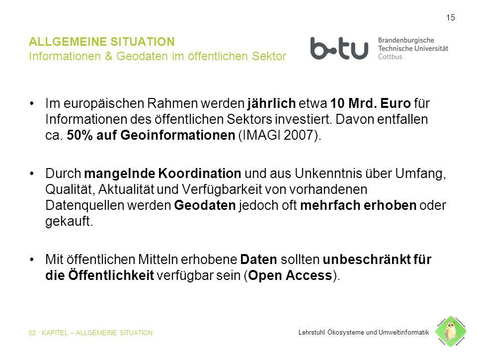 15 ALLGEMEINE SITUATION Informationen & Geodaten im öffentlichen Sektor Im europäischen Rahmen werden jährlich etwa 10 Mrd.