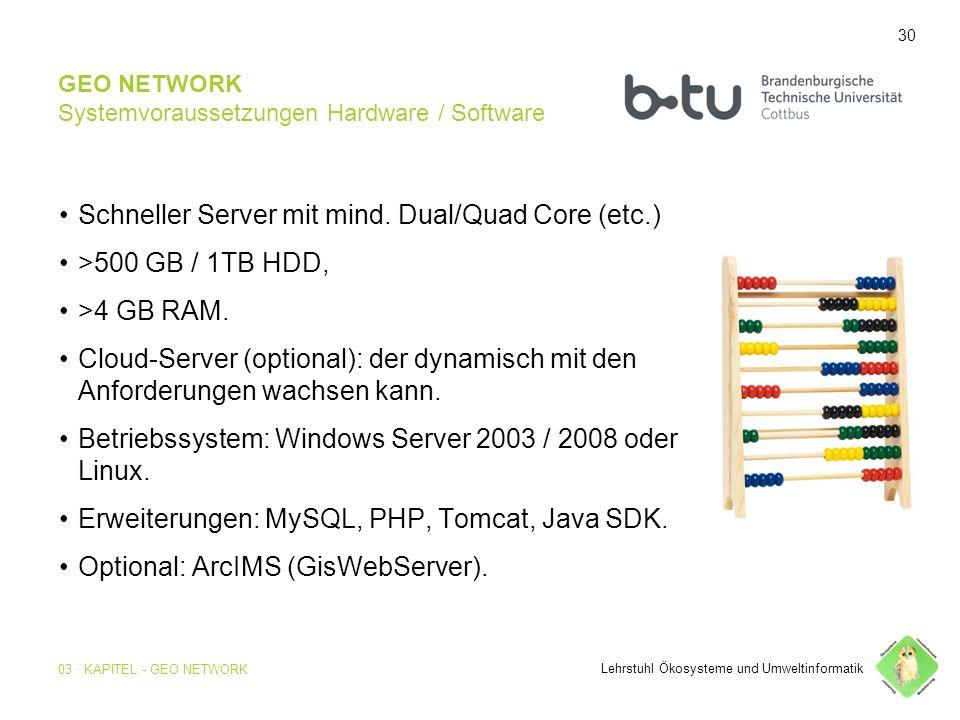 30 GEO NETWORK Systemvoraussetzungen Hardware / Software Schneller Server mit mind.