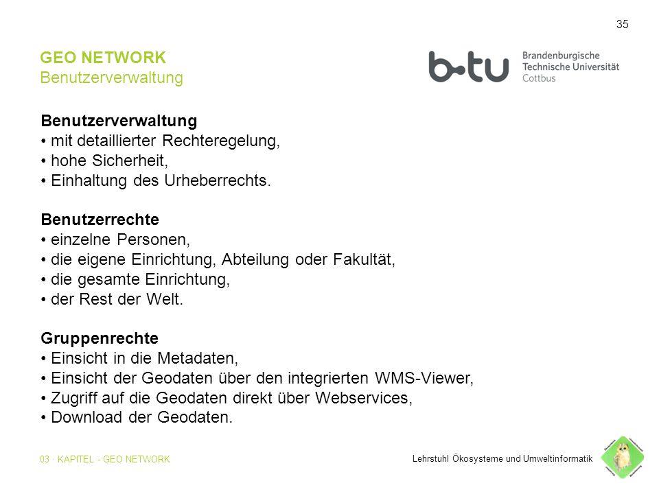 35 GEO NETWORK Benutzerverwaltung Benutzerverwaltung mit detaillierter Rechteregelung, hohe Sicherheit, Einhaltung des Urheberrechts.
