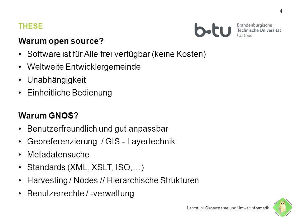 44 THESE Warum open source? Software ist für Alle frei verfügbar (keine Kosten) Weltweite Entwicklergemeinde Unabhängigkeit Einheitliche Bedienung War