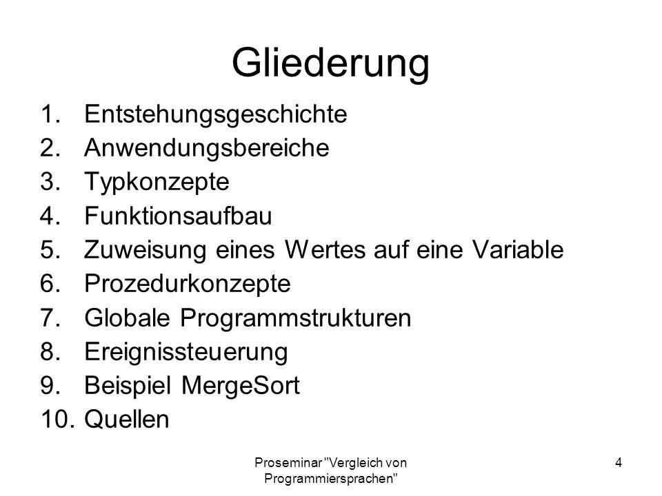Proseminar Vergleich von Programmiersprachen 25 Globale Programmstrukturen (I) Blöcke existieren nicht Alternativ: Funktionen, goto´s Namensbereiche: 1.Variablen der Umgebung in aufgerufenen Funktionen bekannt 2.Lokale Variable setzt globale Variable außer Kraft