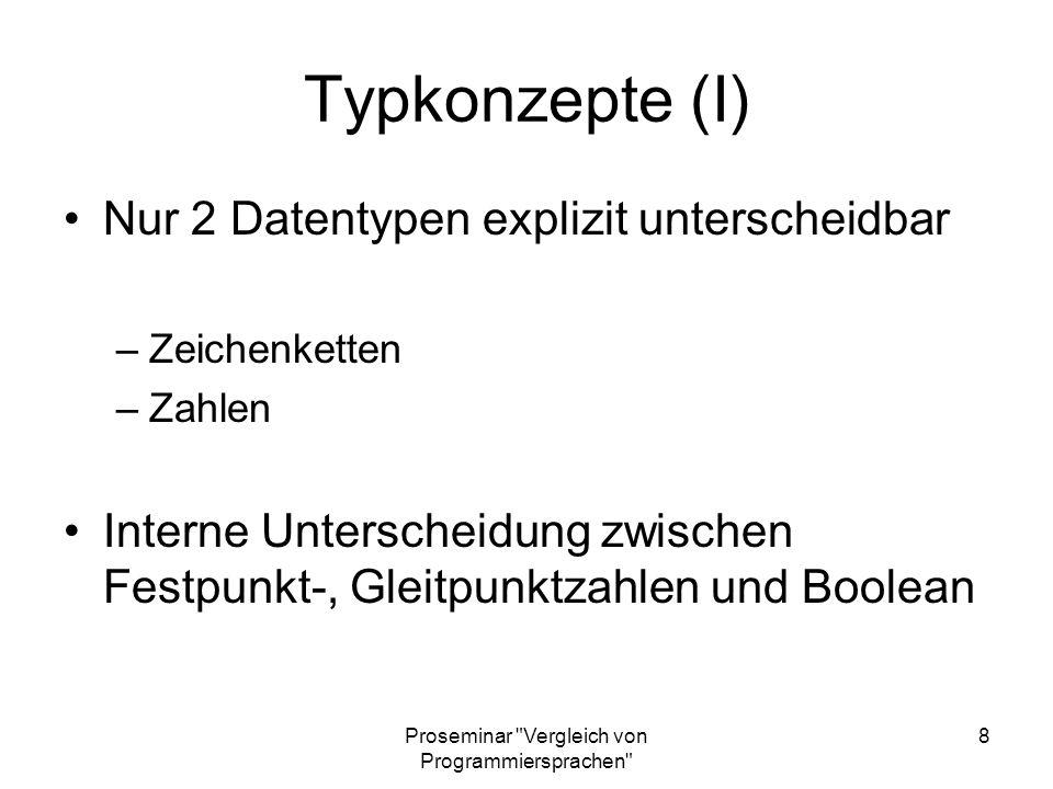Proseminar Vergleich von Programmiersprachen 19 Anweisungstyp Dyadisch: r x funktion y Monadisch: r funktion y Niladisch: r funktion