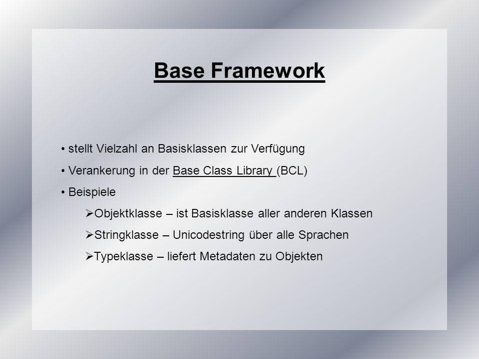 Base Framework stellt Vielzahl an Basisklassen zur Verfügung Verankerung in der Base Class Library (BCL)Base Class Library Beispiele Objektklasse – ist Basisklasse aller anderen Klassen Stringklasse – Unicodestring über alle Sprachen Typeklasse – liefert Metadaten zu Objekten