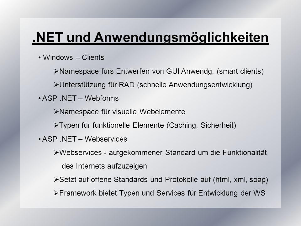 .NET und Anwendungsmöglichkeiten Windows – Clients Namespace fürs Entwerfen von GUI Anwendg.