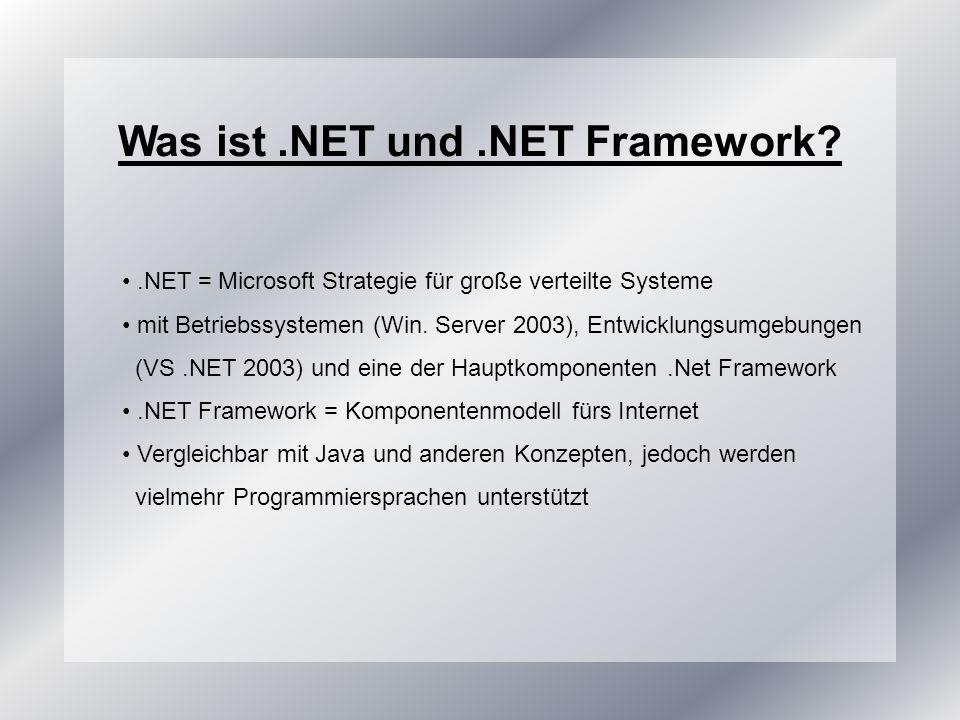 Zusammenfassung und Ausblick.NET Framework ist eine Architektur/ Laufzeitumg./ Prog.modell sie bietet plattformunabhängige, typsichere und sprachübergreifende Anwendungsentwicklung unterstützt zwischen 20 und 30 Sprachen automatische Speicherverwaltung – stabilere Anwendungen Performancesteigerung – Sprachen arbeiten gleich schnell einheitliche Fehlerbehandlung Skalierbarkeit reicht vom Pocket-PC bis zu 32-Prozessor Datacenter in Zukunft werden sämtliche Produkte auf.NET ausgerichtet sein Windows 2003, Office 2003 und später auch MS SQL Server, Windows Codename Longhorn