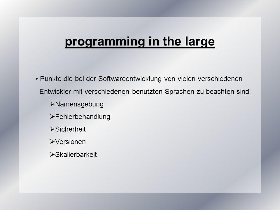 programming in the large Punkte die bei der Softwareentwicklung von vielen verschiedenen Entwickler mit verschiedenen benutzten Sprachen zu beachten sind: Namensgebung Fehlerbehandlung Sicherheit Versionen Skalierbarkeit