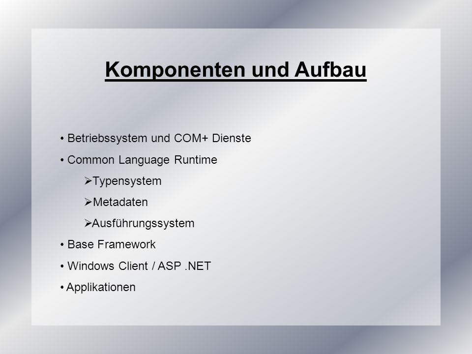Common Language Runtime (CLR) Laufzeitumgebung des.NET Frameworks Komponenten der CLR Allgemeines Typensystem (CTS) Metadatensystem Ausführungssystem Common Language Specification schränkt Fähigkeiten der CLR auf eine bestimmte Gruppe ein, die alle.NET Sprachen unterst.