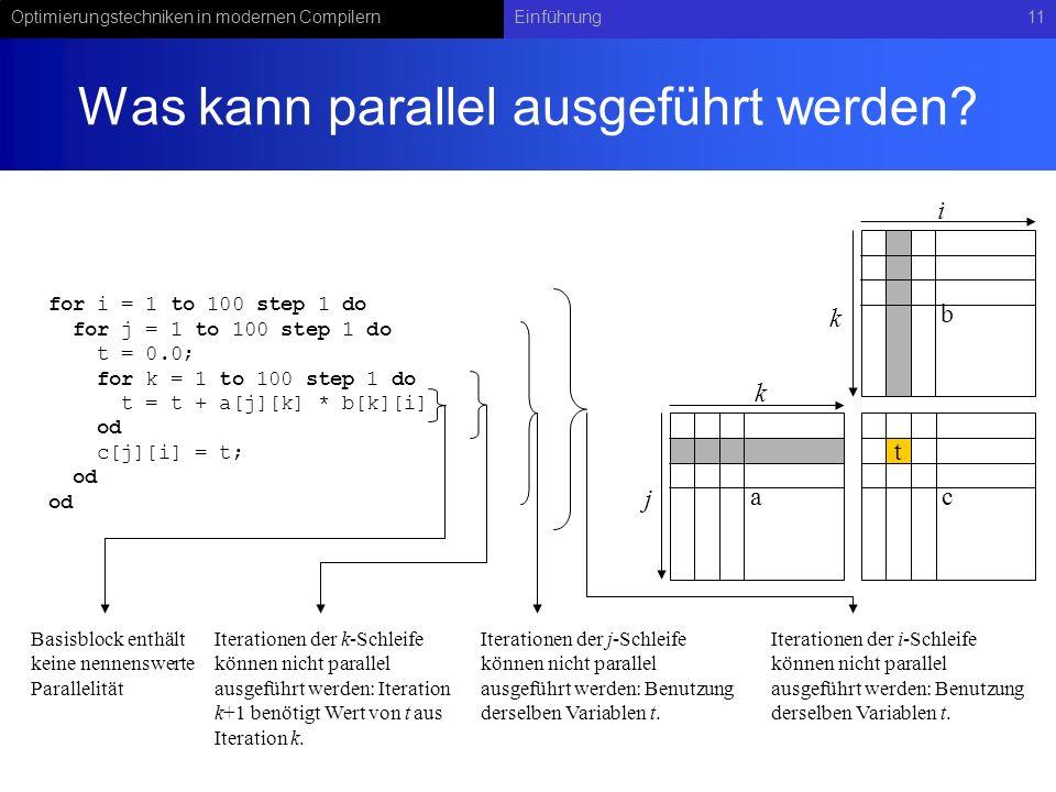 Optimierungstechniken in modernen CompilernEinführung11 Was kann parallel ausgeführt werden.