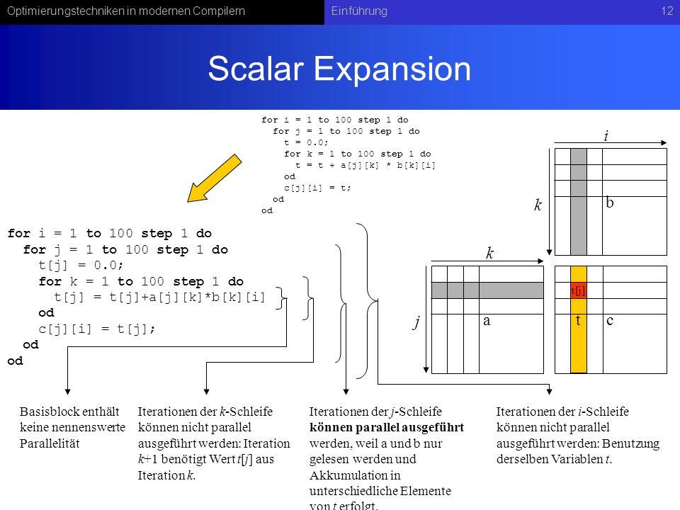 Optimierungstechniken in modernen CompilernEinführung12 t Scalar Expansion Basisblock enthält keine nennenswerte Parallelität Iterationen der k-Schleife können nicht parallel ausgeführt werden: Iteration k+1 benötigt Wert t[j] aus Iteration k.