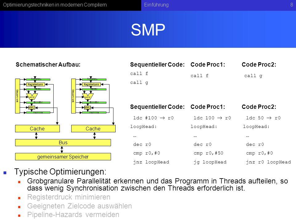 Optimierungstechniken in modernen CompilernEinführung8 SMP Typische Optimierungen: Grobgranulare Parallelität erkennen und das Programm in Threads aufteilen, so dass wenig Synchronisation zwischen den Threads erforderlich ist.