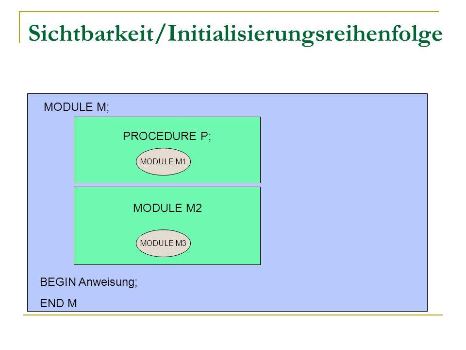 Sichtbarkeit/Initialisierungsreihenfolge PROCEDURE P;..... MODULE M; MODULE M1 MODULE M3 BEGIN Anweisung; END M MODULE M2