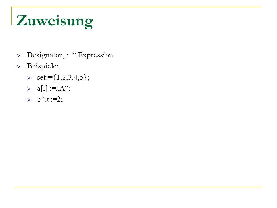 Zuweisung Designator := Expression. Beispiele: set:={1,2,3,4,5}; a[i] :=A; p^.t :=2;