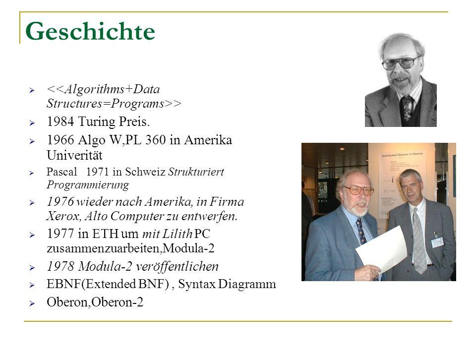 Geschichte > 1984 Turing Preis. 1966 Algo W,PL 360 in Amerika Univerität Pascal 1971 in Schweiz Strukturiert Programmierung 1976 wieder nach Amerika,