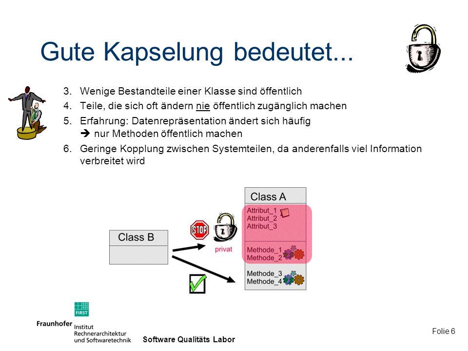 Folie 17 Software Qualitäts Labor Zusammenfassung der Kriterien 1 1.Keine globalen Funktionen oder Daten 2.Gute Strukturierung des Systems mit Hilfe von Klassen 3.Wenige Bestandteile einer Klasse sind öffentlich 4.Teile, die sich oft ändern nie öffentlich zugänglich machen 5.Erfahrung: Datenrepräsentation ändert sich häufig nur Methoden öffentlich machen 6.Geringe Kopplung zwischen Systemteilen 7.In OO: Nutzung von Klassen zur Bildung von Modulen 8.Schmale Schnittstellen (wenig Methoden, wenig Parameter) 9.Für große Module sollten separate Schnittstellenklassen verwendet werden 10.Kommunikation findet ausschließlich über Schnittstellen statt (keine globale Variable) 11.wenig Abhängigkeiten zwischen Klassen 12.Keine Abhängigkeiten von Implementierungsdetails von Modulen 13.Keine Abhängigkeit von globalen Elementen 14.Keine bidirektionalen Abhängigkeiten 15.Keine Nachrichtendurchschleusung