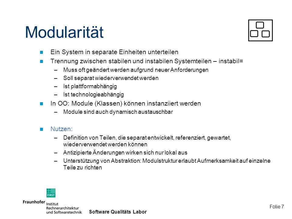 Folie 8 Software Qualitäts Labor Gute Modularität bedeutet...