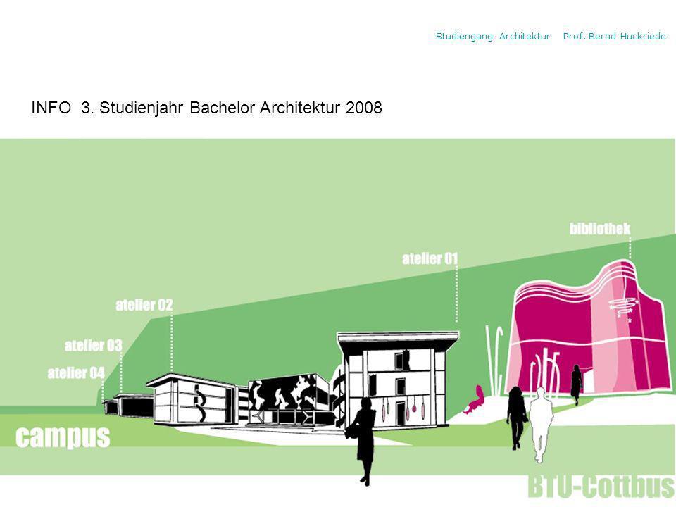 Studiengang Architektur Prof. Bernd Huckriede INFO 3. Studienjahr Bachelor Architektur 2008