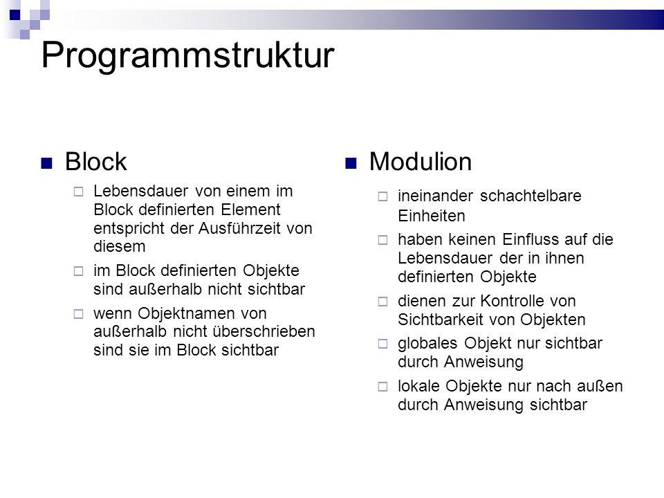Programmstruktur Block Lebensdauer von einem im Block definierten Element entspricht der Ausführzeit von diesem im Block definierten Objekte sind auße