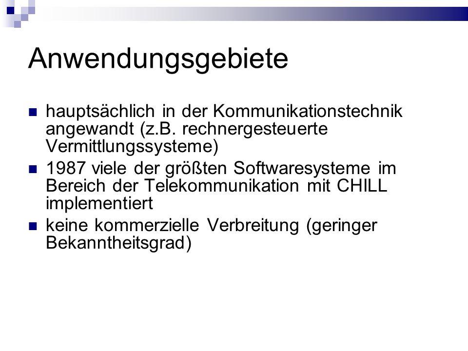 Anwendungsgebiete hauptsächlich in der Kommunikationstechnik angewandt (z.B. rechnergesteuerte Vermittlungssysteme) 1987 viele der größten Softwaresys