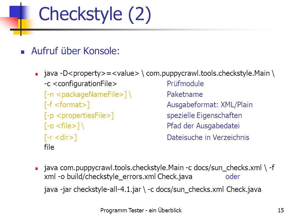 Programm Tester - ein Überblick15 Aufruf über Konsole: java -D = \ com.puppycrawl.tools.checkstyle.Main \ -c Prüfmodule [-n ] \ Paketname [-f ] Ausgab