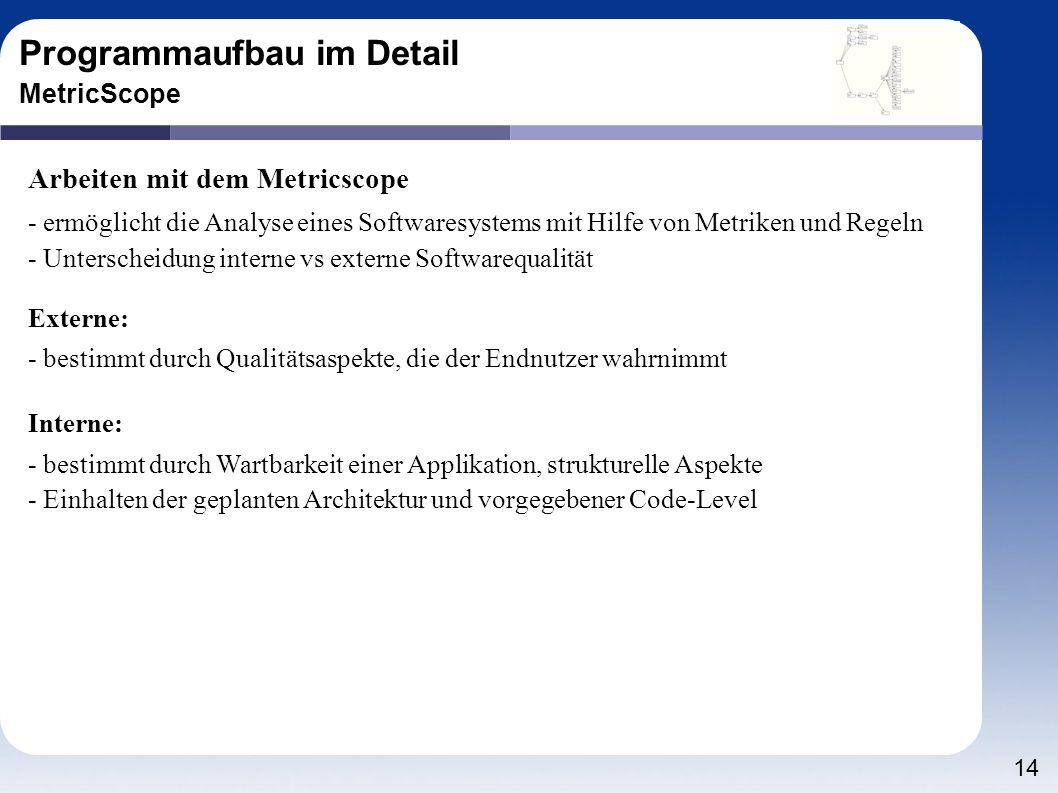 14 Programmaufbau im Detail MetricScope Arbeiten mit dem Metricscope - ermöglicht die Analyse eines Softwaresystems mit Hilfe von Metriken und Regeln