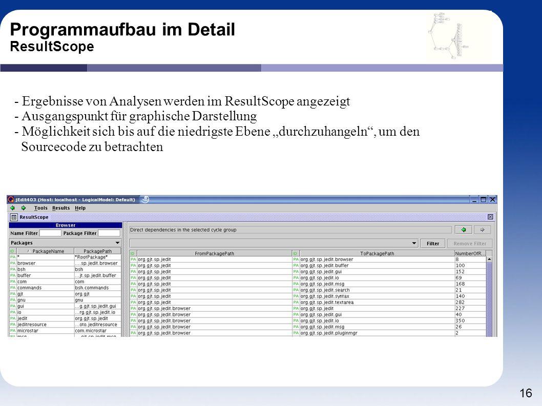 16 Programmaufbau im Detail ResultScope - Ergebnisse von Analysen werden im ResultScope angezeigt - Ausgangspunkt für graphische Darstellung - Möglich