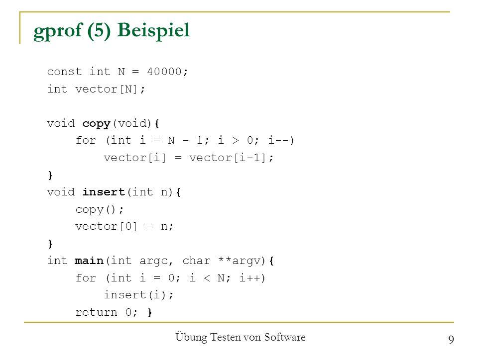 gprof (6) Beurteilung Vorteile In fast jeder Linux-Distribution Kostenlos Mehrere Optionen Funktioniert unter Knoppix (?) Wird ständig erweitert / verbessert Übung Testen von Software 10