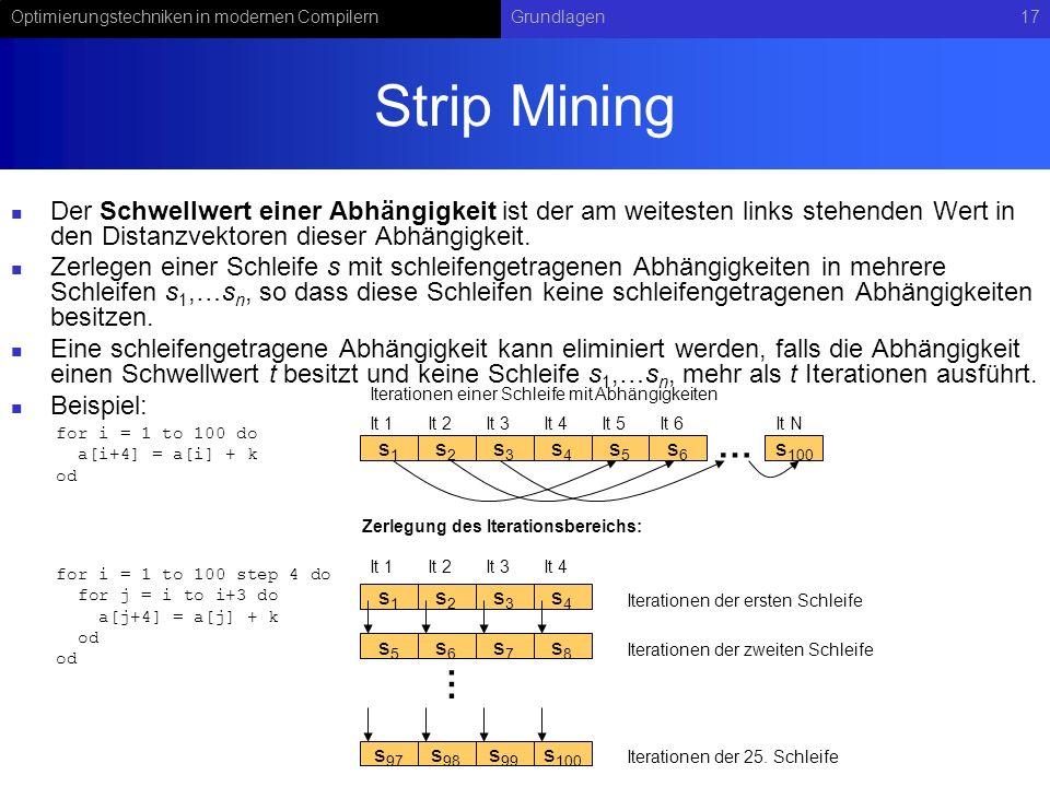 Optimierungstechniken in modernen CompilernGrundlagen17 Strip Mining Der Schwellwert einer Abhängigkeit ist der am weitesten links stehenden Wert in den Distanzvektoren dieser Abhängigkeit.